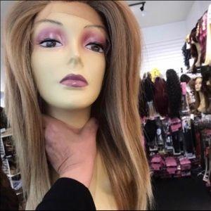 Handbags - Blonde 27/613 long silky lacefront wig Freepart